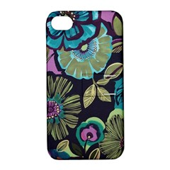 Dark Lila Flowers Apple Iphone 4/4s Hardshell Case With Stand
