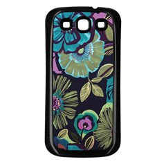 Dark Lila Flowers Samsung Galaxy S3 Back Case (black) by Brittlevirginclothing