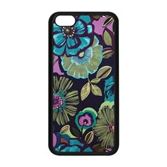 Dark Lila Flowers Apple Iphone 5c Seamless Case (black) by Brittlevirginclothing