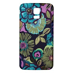 Dark Lila Flowers Samsung Galaxy S5 Back Case (white) by Brittlevirginclothing