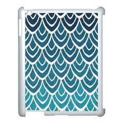 Blue Fish Scale  Apple Ipad 3/4 Case (white) by Brittlevirginclothing