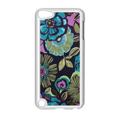 Dark Lila Flowers Apple Ipod Touch 5 Case (white) by Brittlevirginclothing