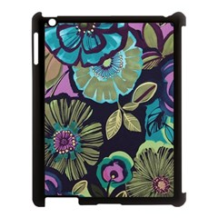 Dark Lila Flowers Apple Ipad 3/4 Case (black) by Brittlevirginclothing
