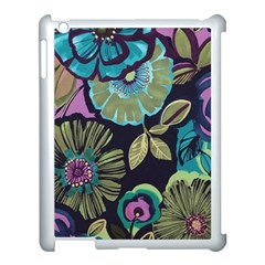 Dark Lila Flowers Apple Ipad 3/4 Case (white) by Brittlevirginclothing