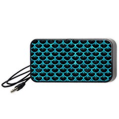 Scales3 Black Marble & Turquoise Marble Portable Speaker (black) by trendistuff