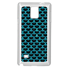 Scales3 Black Marble & Turquoise Marble Samsung Galaxy Note 4 Case (white) by trendistuff