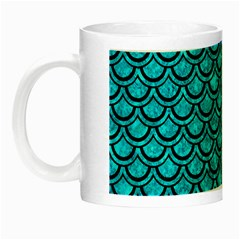 Scales2 Black Marble & Turquoise Marble (r) Night Luminous Mug by trendistuff