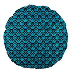 Scales2 Black Marble & Turquoise Marble (r) Large 18  Premium Round Cushion  by trendistuff