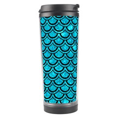 Scales2 Black Marble & Turquoise Marble (r) Travel Tumbler by trendistuff