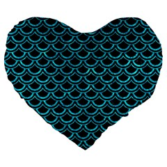 Scales2 Black Marble & Turquoise Marble Large 19  Premium Flano Heart Shape Cushion by trendistuff