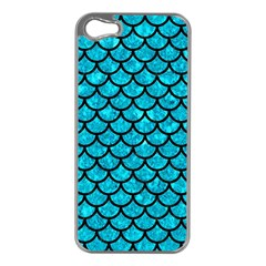 Scales1 Black Marble & Turquoise Marble (r) Apple Iphone 5 Case (silver) by trendistuff