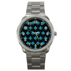 Royal1 Black Marble & Turquoise Marble (r) Sport Metal Watch by trendistuff