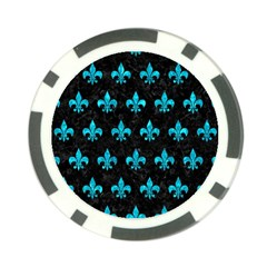 Royal1 Black Marble & Turquoise Marble (r) Poker Chip Card Guard (10 Pack) by trendistuff