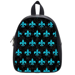 Royal1 Black Marble & Turquoise Marble (r) School Bag (small) by trendistuff