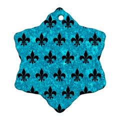 Royal1 Black Marble & Turquoise Marble Snowflake Ornament (two Sides) by trendistuff