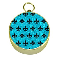 Royal1 Black Marble & Turquoise Marble Gold Compass by trendistuff