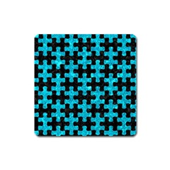 Puzzle1 Black Marble & Turquoise Marble Magnet (square)