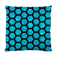 Hexagon2 Black Marble & Turquoise Marble (r) Standard Cushion Case (two Sides) by trendistuff