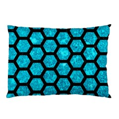 Hexagon2 Black Marble & Turquoise Marble (r) Pillow Case by trendistuff
