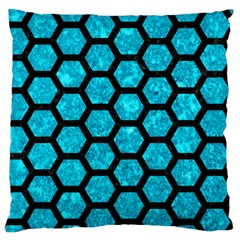 Hexagon2 Black Marble & Turquoise Marble (r) Large Flano Cushion Case (two Sides) by trendistuff