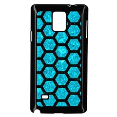 Hexagon2 Black Marble & Turquoise Marble (r) Samsung Galaxy Note 4 Case (black) by trendistuff
