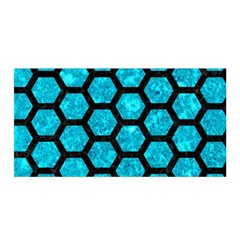 Hexagon2 Black Marble & Turquoise Marble (r) Satin Wrap by trendistuff