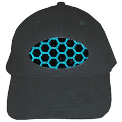 Hexagon2 Black Marble & Turquoise Marble Black Cap by trendistuff