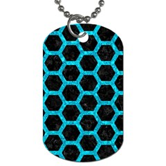 Hexagon2 Black Marble & Turquoise Marble Dog Tag (two Sides) by trendistuff