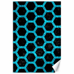 Hexagon2 Black Marble & Turquoise Marble Canvas 24  X 36  by trendistuff
