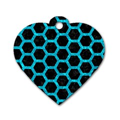 Hexagon2 Black Marble & Turquoise Marble Dog Tag Heart (two Sides) by trendistuff