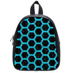 Hexagon2 Black Marble & Turquoise Marble School Bag (small) by trendistuff