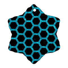 Hexagon2 Black Marble & Turquoise Marble Ornament (snowflake) by trendistuff