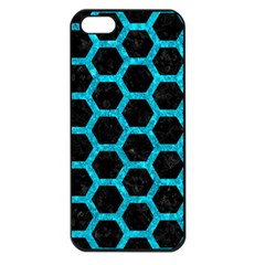 Hexagon2 Black Marble & Turquoise Marble Apple Iphone 5 Seamless Case (black) by trendistuff