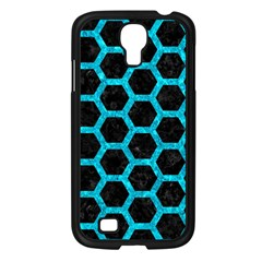 Hexagon2 Black Marble & Turquoise Marble Samsung Galaxy S4 I9500/ I9505 Case (black) by trendistuff