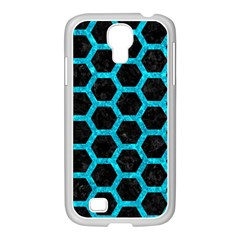 Hexagon2 Black Marble & Turquoise Marble Samsung Galaxy S4 I9500/ I9505 Case (white) by trendistuff