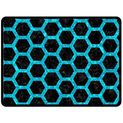 Hexagon2 Black Marble & Turquoise Marble Double Sided Fleece Blanket (large) by trendistuff