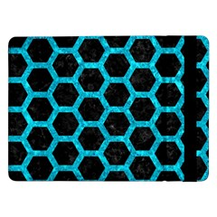 Hexagon2 Black Marble & Turquoise Marble Samsung Galaxy Tab Pro 12 2  Flip Case by trendistuff