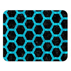 Hexagon2 Black Marble & Turquoise Marble Double Sided Flano Blanket (large) by trendistuff