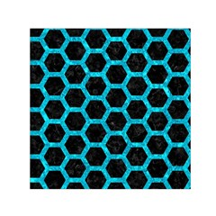 Hexagon2 Black Marble & Turquoise Marble Small Satin Scarf (square)