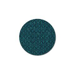 Hexagon1 Black Marble & Turquoise Marble Golf Ball Marker by trendistuff