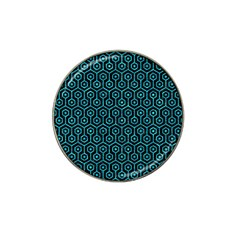 Hexagon1 Black Marble & Turquoise Marble Hat Clip Ball Marker (4 Pack) by trendistuff