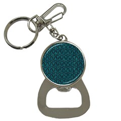 Hexagon1 Black Marble & Turquoise Marble Bottle Opener Key Chain by trendistuff