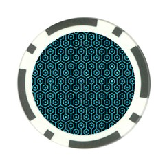 Hexagon1 Black Marble & Turquoise Marble Poker Chip Card Guard