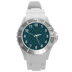 Hexagon1 Black Marble & Turquoise Marble Round Plastic Sport Watch (l) by trendistuff