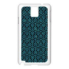 Hexagon1 Black Marble & Turquoise Marble Samsung Galaxy Note 3 N9005 Case (white) by trendistuff
