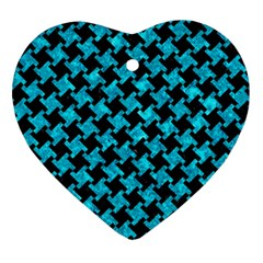 Houndstooth2 Black Marble & Turquoise Marble Ornament (heart) by trendistuff