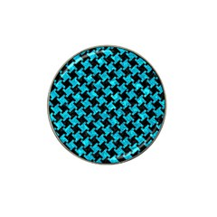 Houndstooth2 Black Marble & Turquoise Marble Hat Clip Ball Marker (4 Pack) by trendistuff