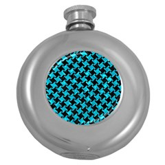 Houndstooth2 Black Marble & Turquoise Marble Hip Flask (5 Oz) by trendistuff