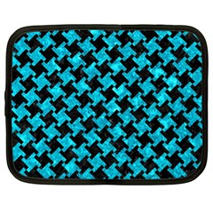 Houndstooth2 Black Marble & Turquoise Marble Netbook Case (xl) by trendistuff