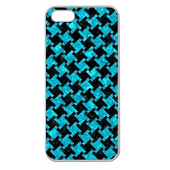 Houndstooth2 Black Marble & Turquoise Marble Apple Seamless Iphone 5 Case (clear) by trendistuff